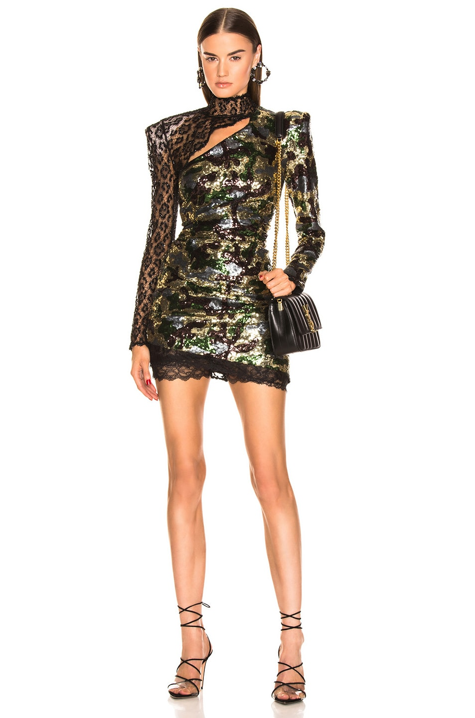 Image 1 of Dundas Camouflage Sequins Dress in Kakhy & Multicolor