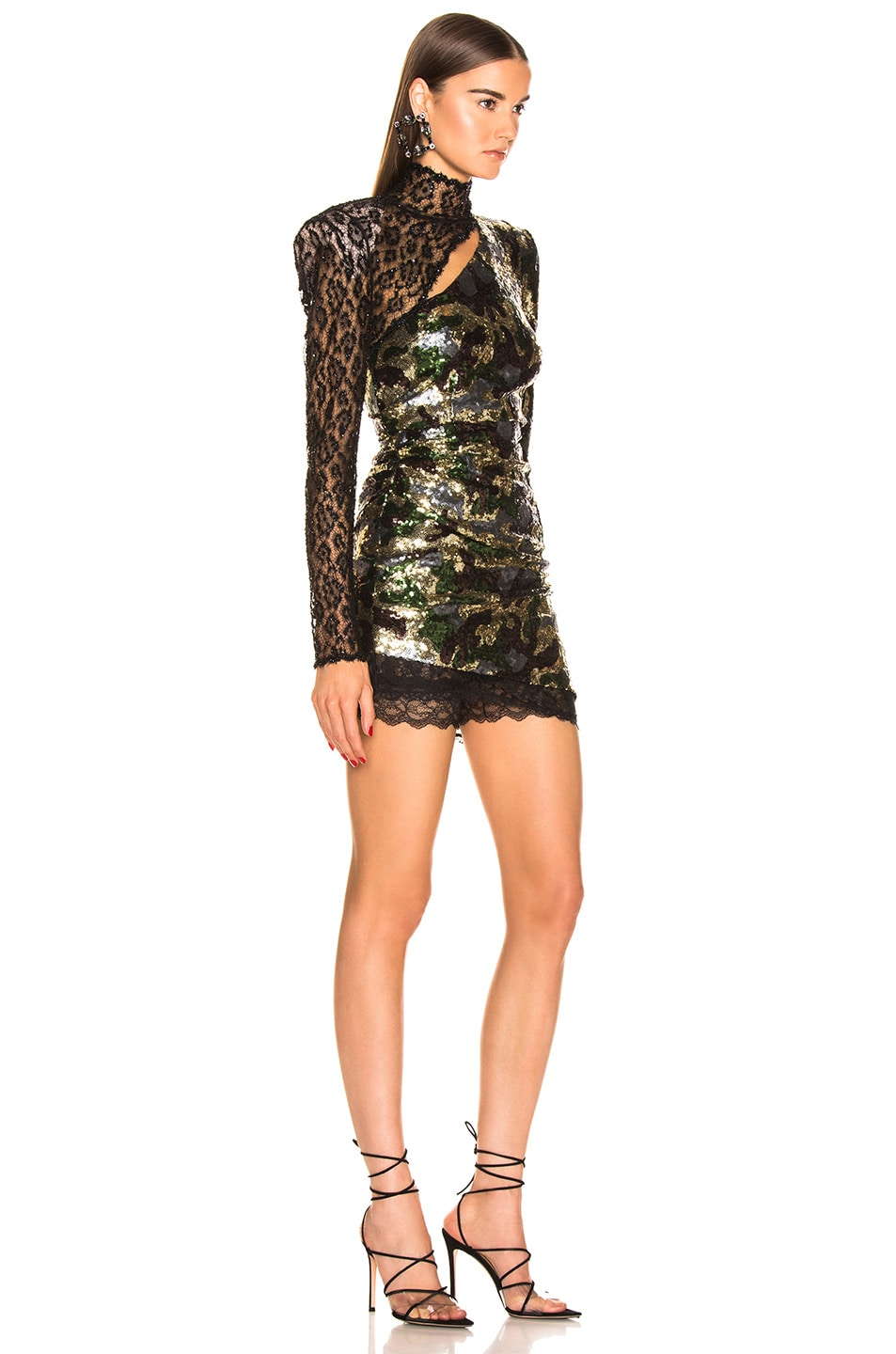 Image 2 of Dundas Camouflage Sequins Dress in Kakhy & Multicolor