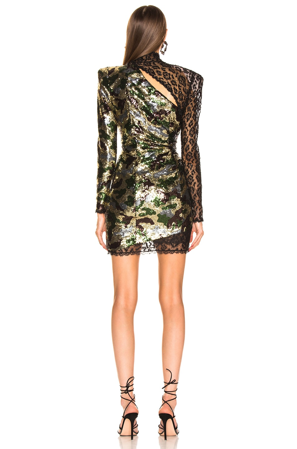 Image 4 of Dundas Camouflage Sequins Dress in Kakhy & Multicolor