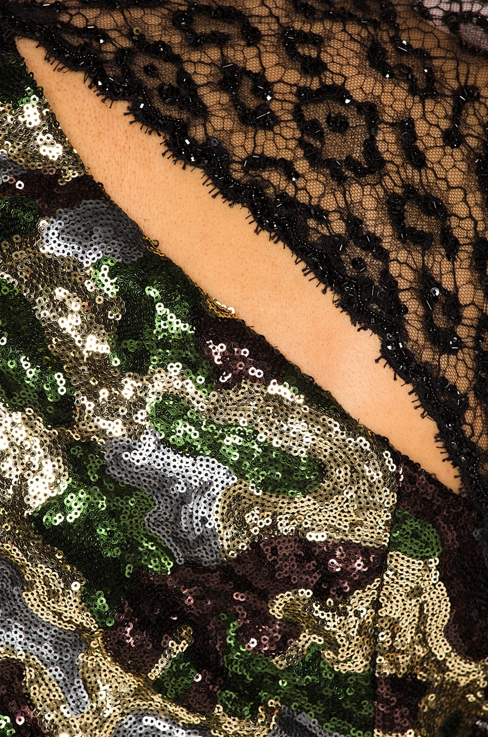 Image 5 of Dundas Camouflage Sequins Dress in Kakhy & Multicolor