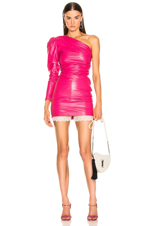 1445affef5c2 Image 1 of Dundas One Shoulder Leather Mini Dress in Fuchsia