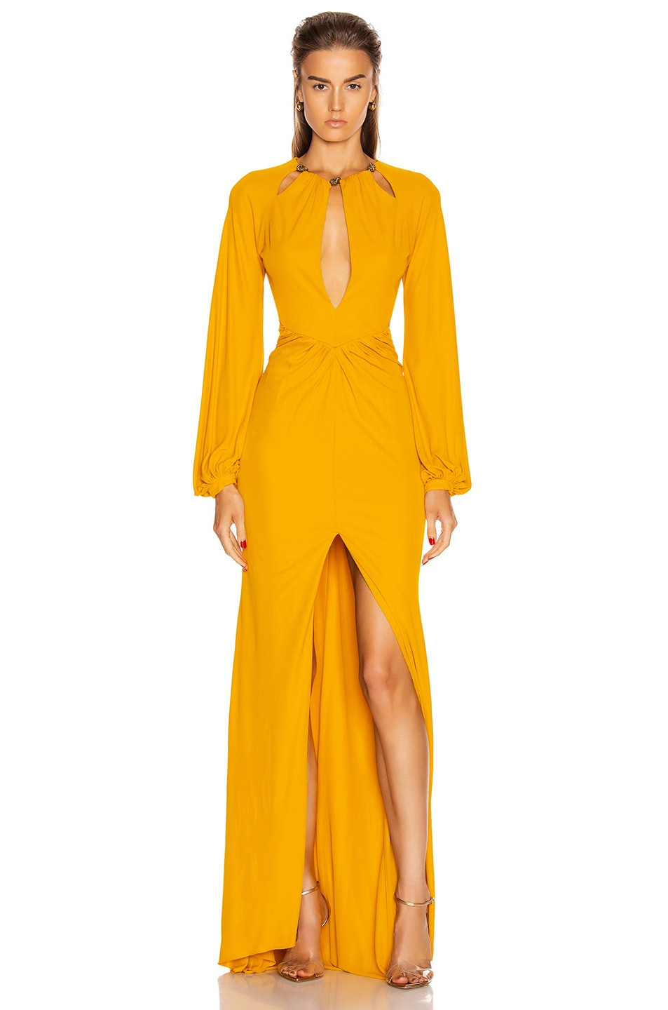 Image 1 of Dundas Keyhole Long Sleeve Dress in Yellow