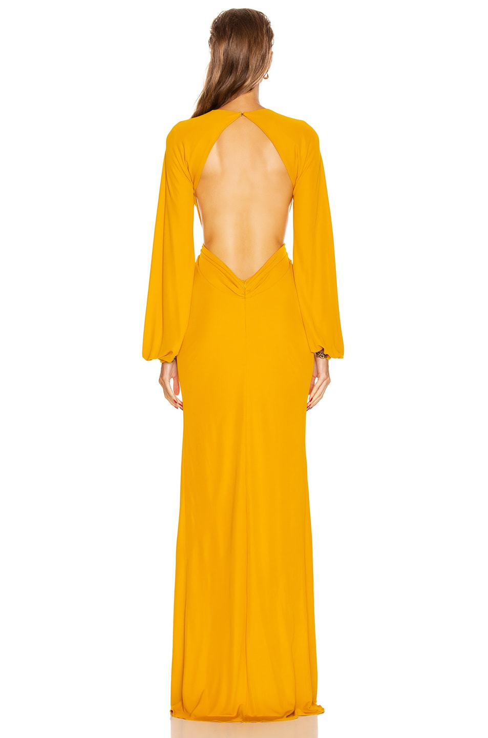 Image 3 of Dundas Keyhole Long Sleeve Dress in Yellow