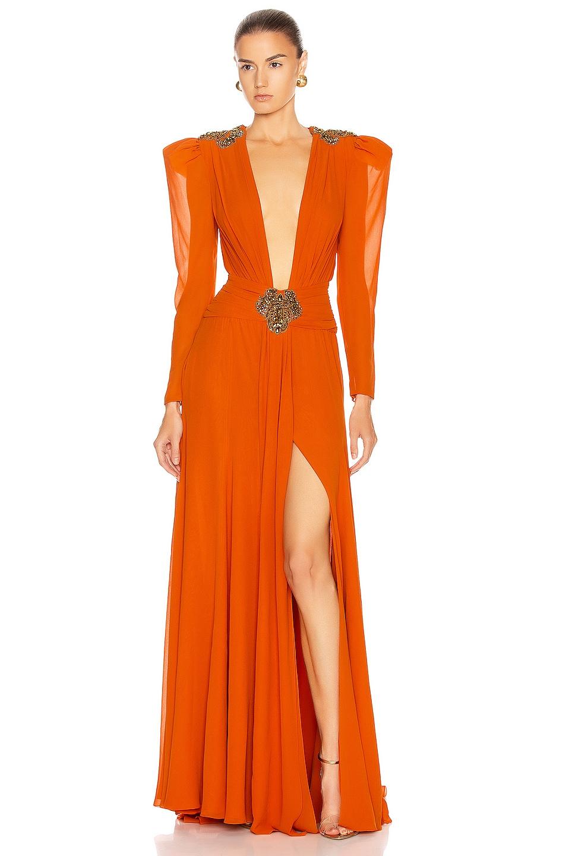 Image 1 of Dundas Embellished Dress in Orange