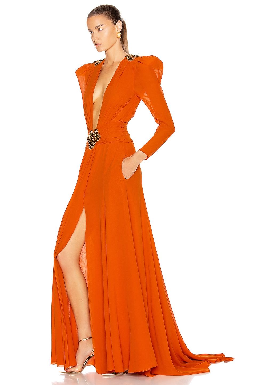 Image 3 of Dundas Embellished Dress in Orange