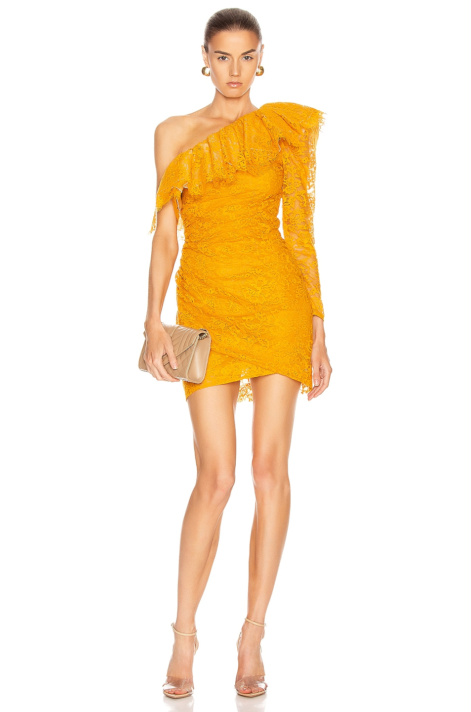 Image 1 of Dundas Lace One Shoulder Mini Dress in Yellow