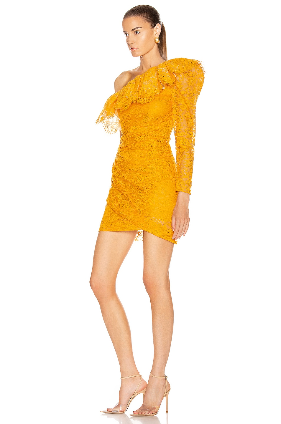 Image 3 of Dundas Lace One Shoulder Mini Dress in Yellow