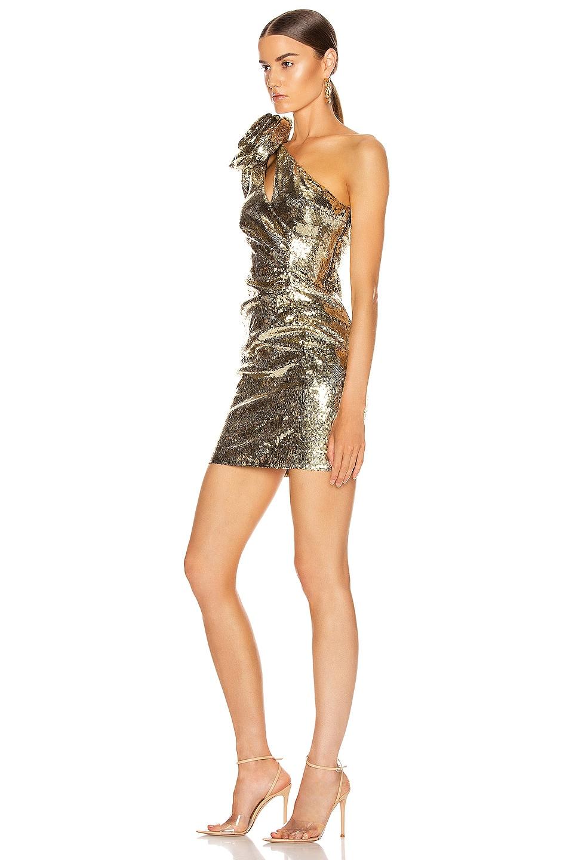 Image 3 of Dundas Sequin One Shoulder Mini Dress in Gold