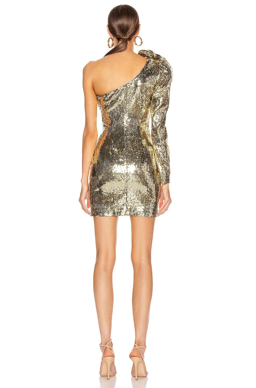 Image 4 of Dundas Sequin One Shoulder Mini Dress in Gold