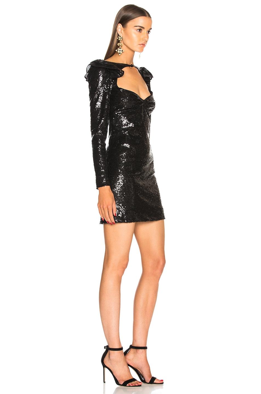 Image 2 of Dundas Ruffle Shoulder Detail Mini Dress in Black