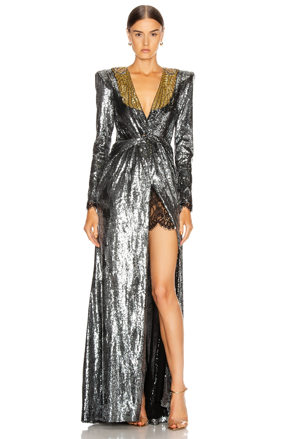 Image 1 of Dundas Sequin Deep V Dress in Gunmetal