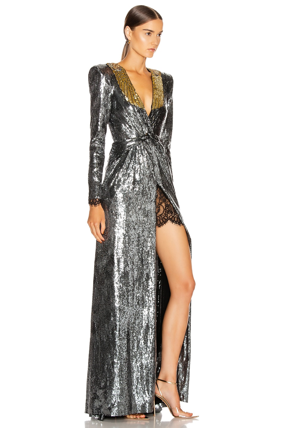 Image 2 of Dundas Sequin Deep V Dress in Gunmetal