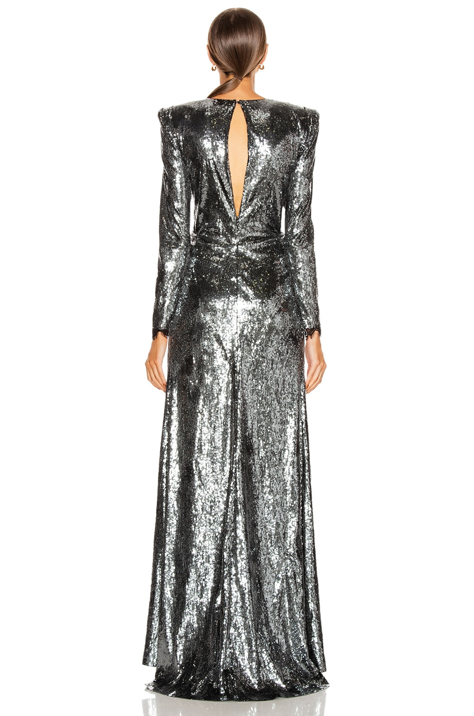 Image 3 of Dundas Sequin Deep V Dress in Gunmetal