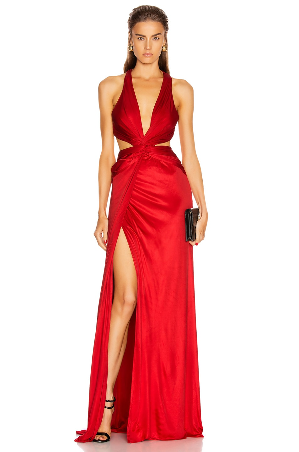 Image 1 of Dundas Cutout Slit Long Dress in Red