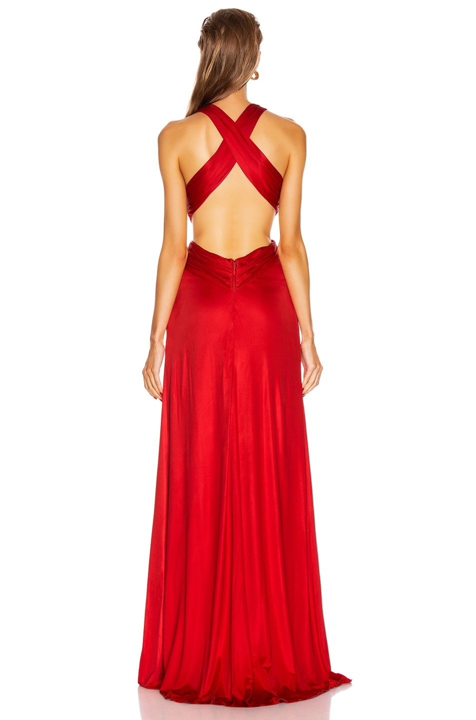 Image 4 of Dundas Cutout Slit Long Dress in Red