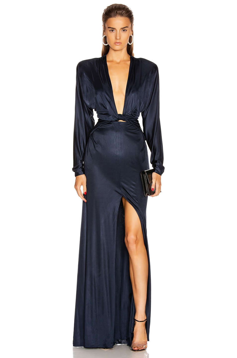Image 1 of Dundas Long Sleeve Slit Dress in Navy