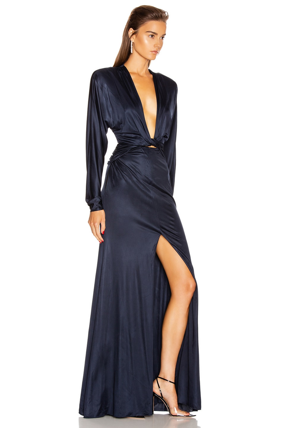 Image 2 of Dundas Long Sleeve Slit Dress in Navy