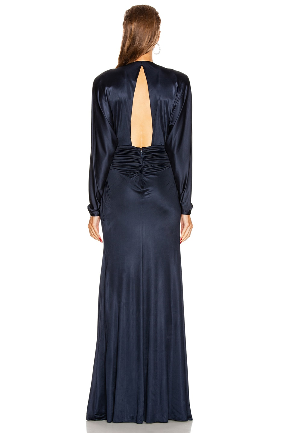 Image 3 of Dundas Long Sleeve Slit Dress in Navy