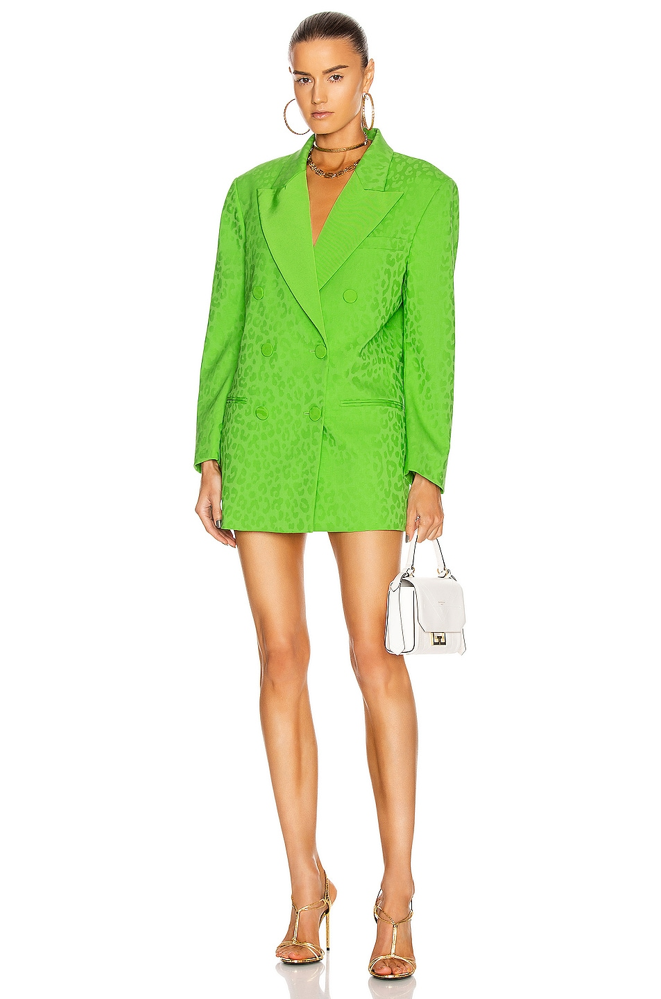 Image 1 of Dundas Double Breasted Blazer Dress in Lime