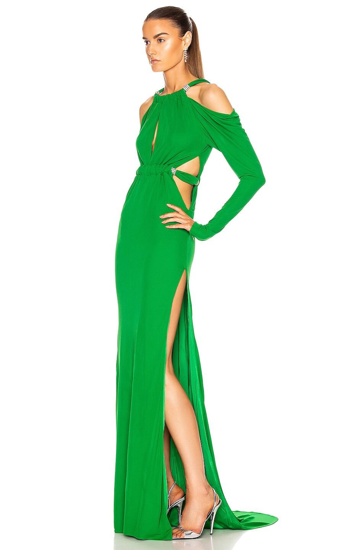Image 3 of Dundas Cutout Long Sleeve Dress in Emerald