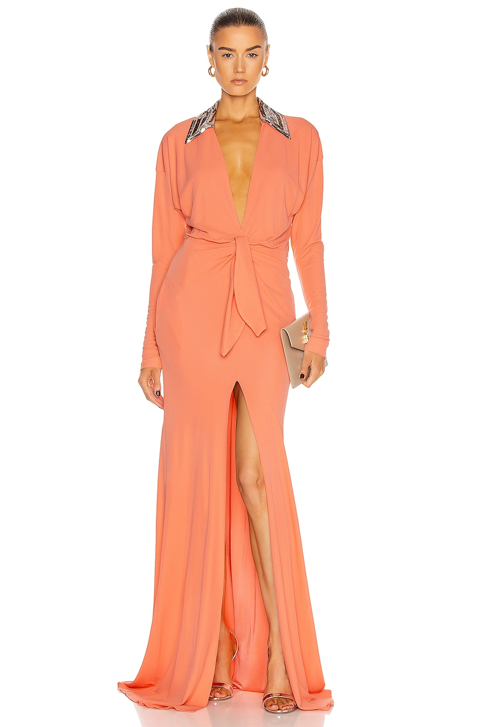 Image 1 of Dundas Long Sleeve Cinched Gown in Coral