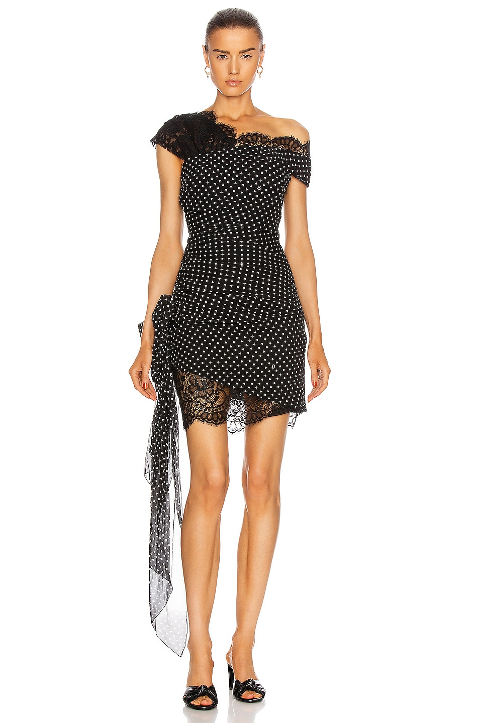 Image 1 of Dundas Mini Dress With Lace Details in Black Dots