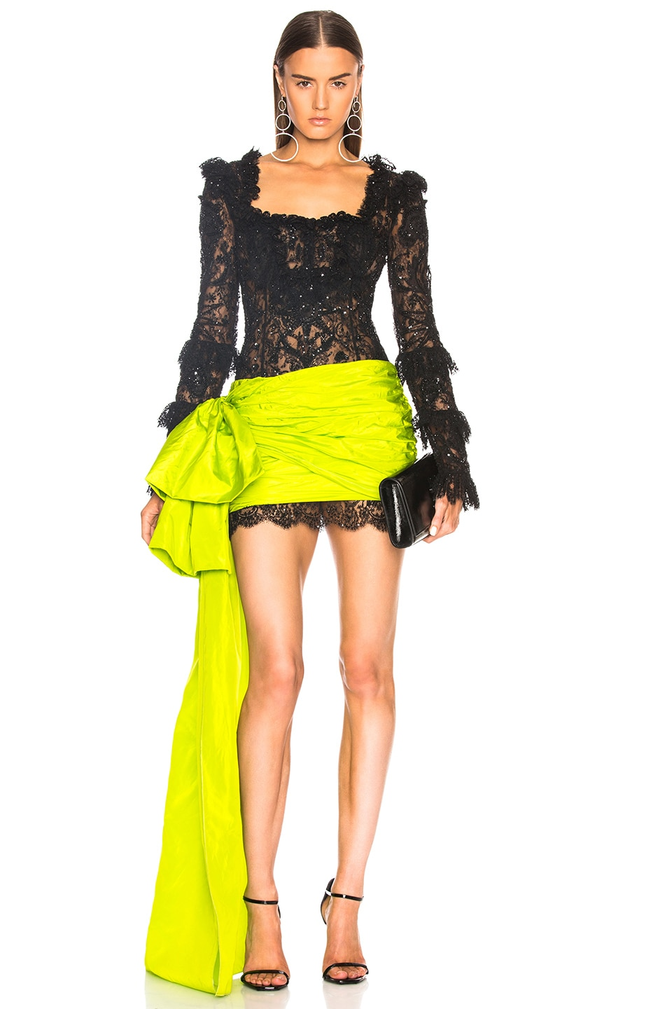 58c64a3f2093 Image 1 of Dundas Square Neck Mini Dress in Black & Acid Green