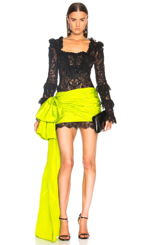 153e1d9e12 Image 1 of Dundas Square Neck Mini Dress in Black   Acid Green