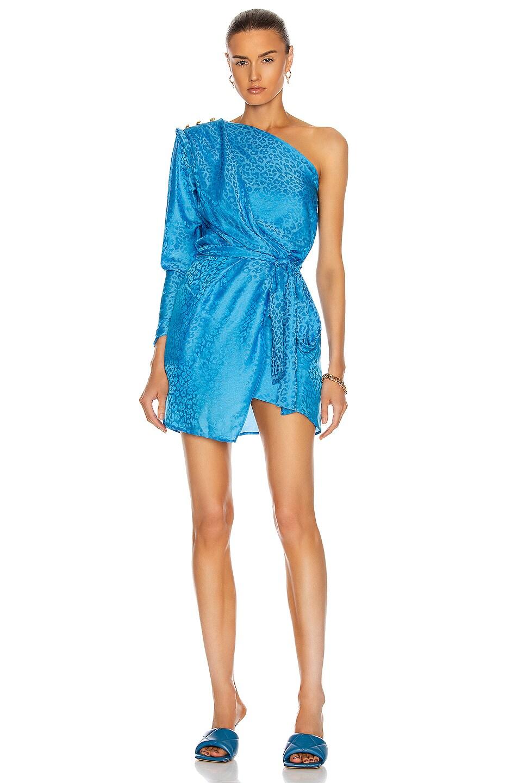 Image 1 of Dundas One Shoulder Mini Dress in Blue Sky