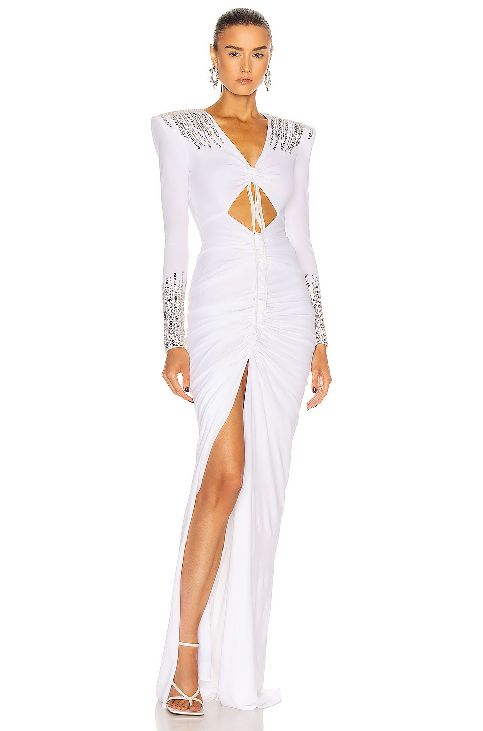 Image 1 of Dundas Ruched Cut Out Gown in White