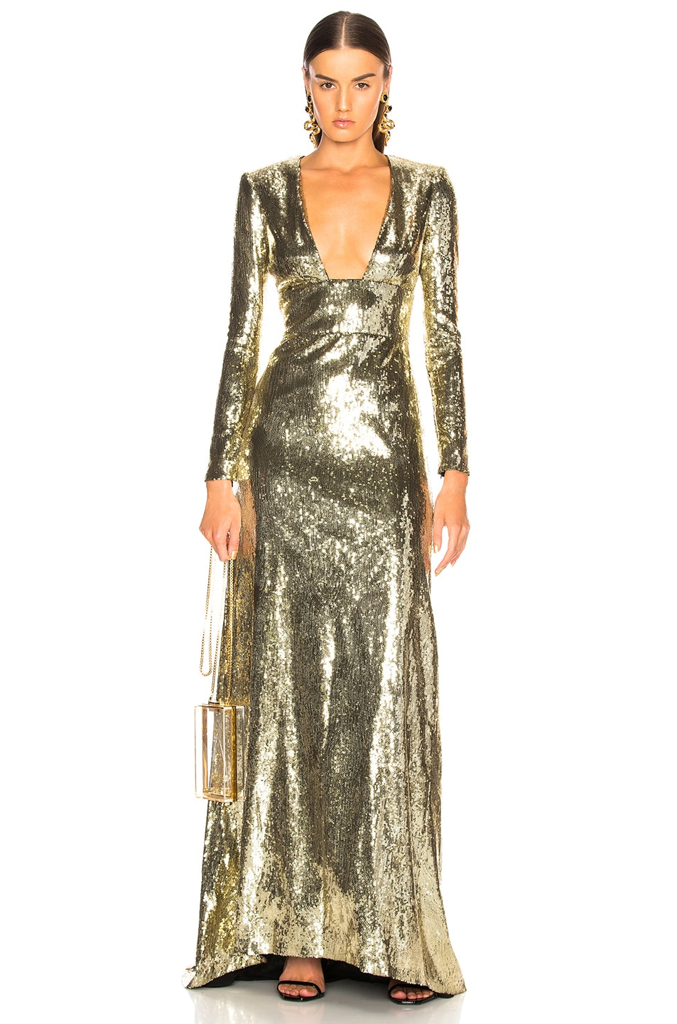 Image 1 of Dundas Open Back Sequin Gown in Gold