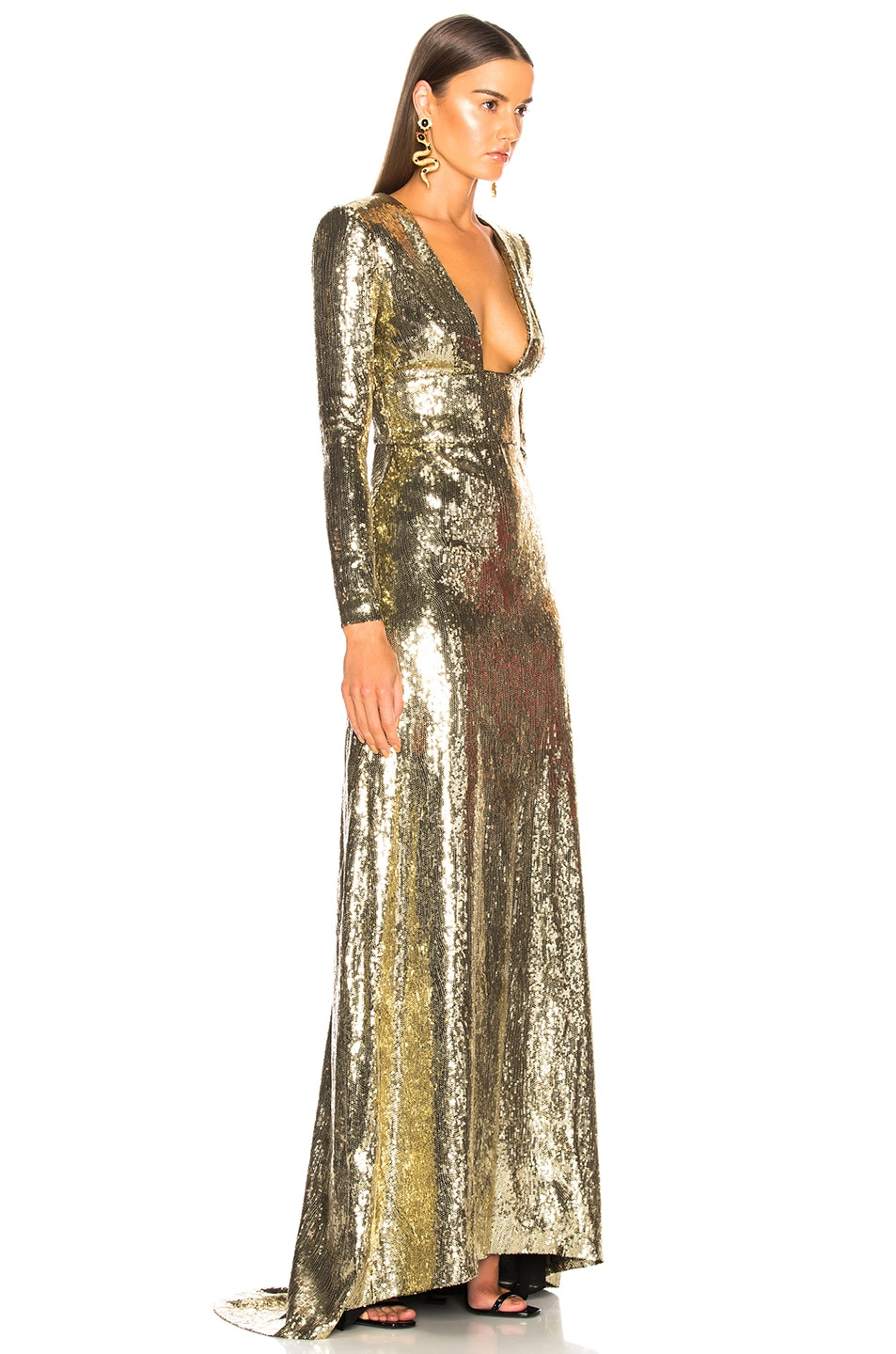 Image 2 of Dundas Open Back Sequin Gown in Gold
