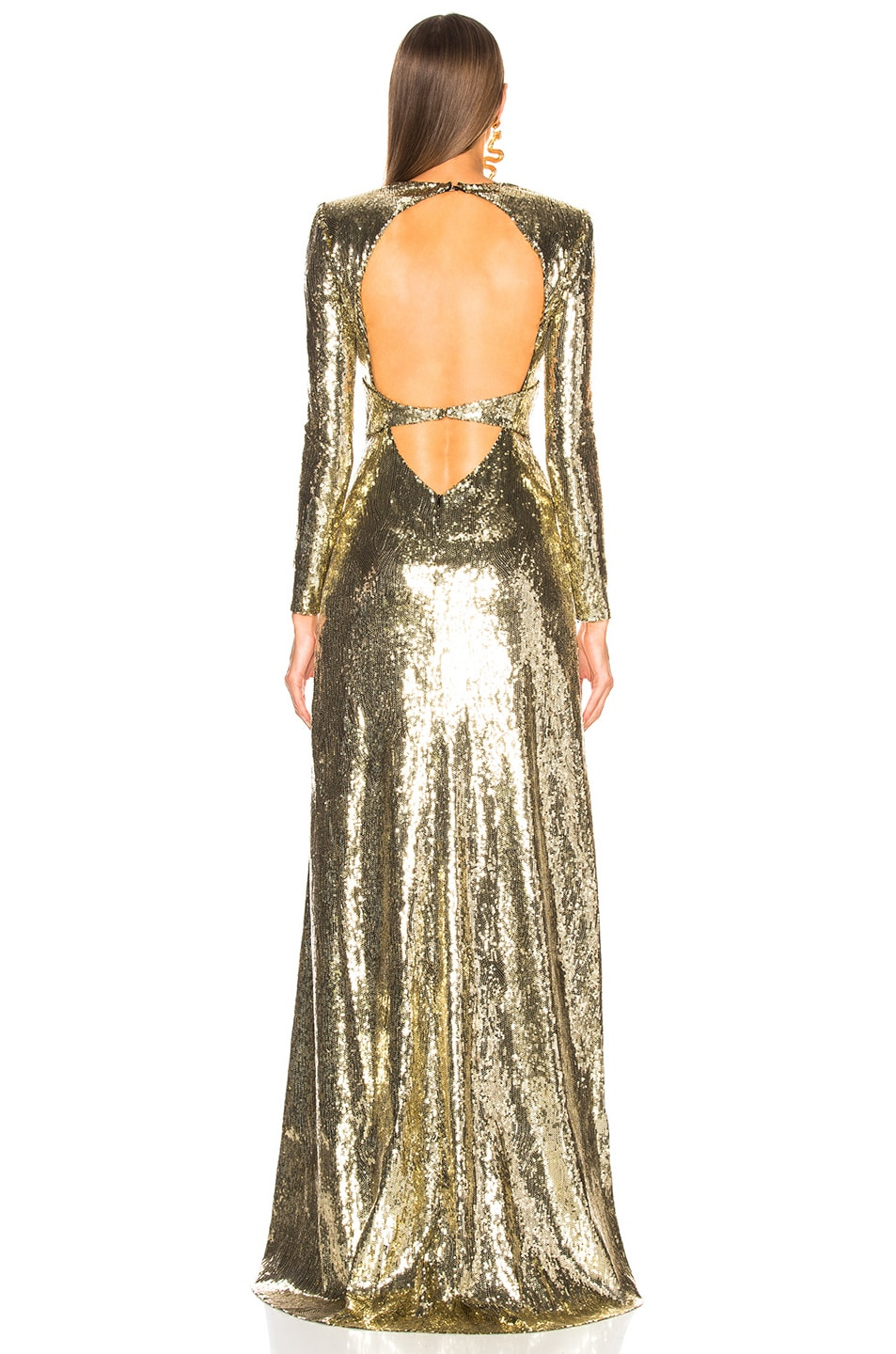 Image 3 of Dundas Open Back Sequin Gown in Gold