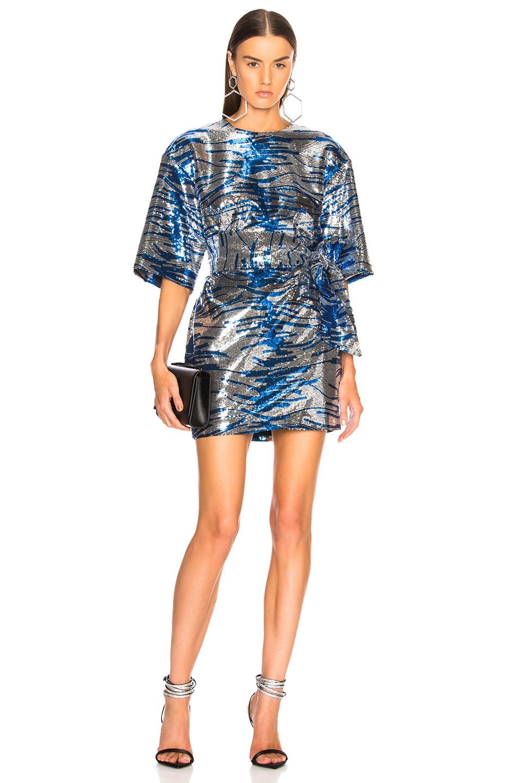 29db969272 Image 1 of Dundas Tiger Stripe Sequin Mini Dress in Silver   Blue