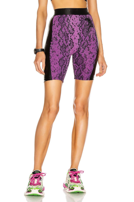 Image 1 of Dundas for FWRD Biker Shorts in Purple & Black Python Print