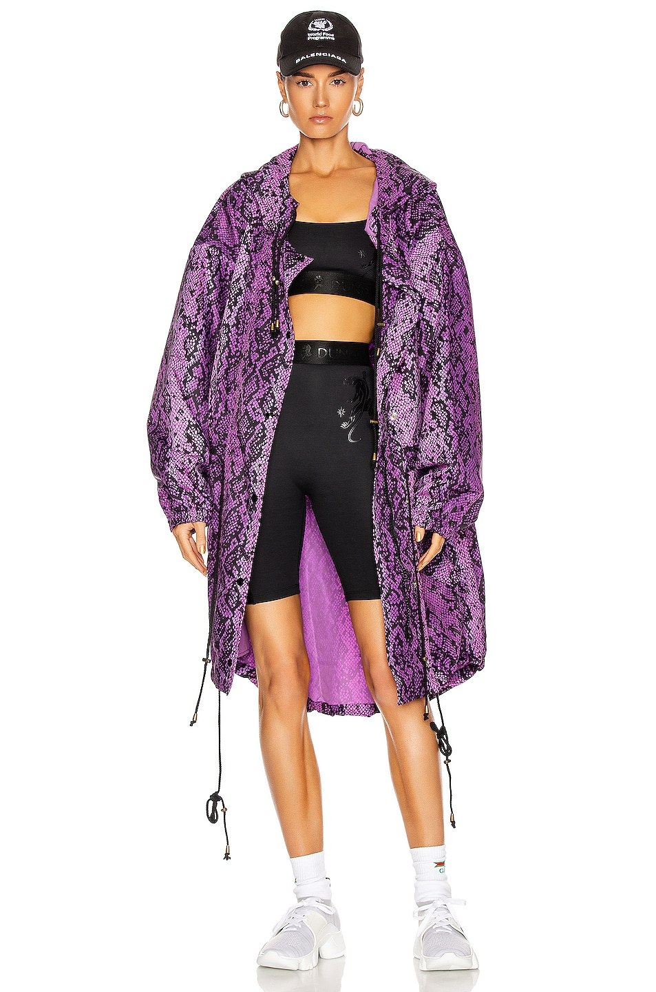 Image 1 of Dundas for FWRD Parka in Purple & Black Python Print