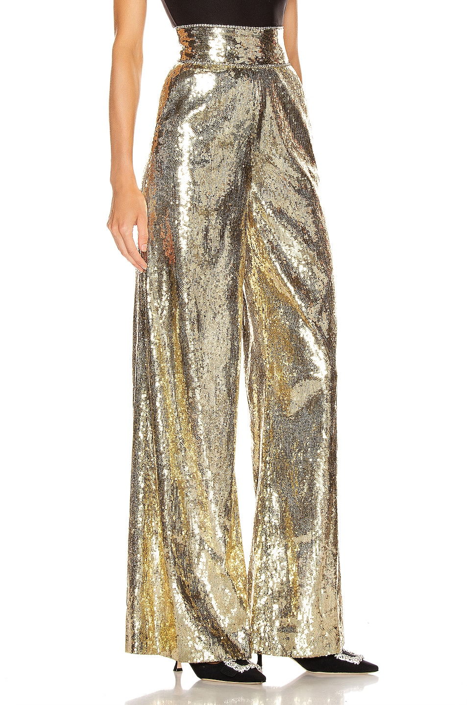 Image 2 of Dundas Sequin Wide Leg Pant in Gold