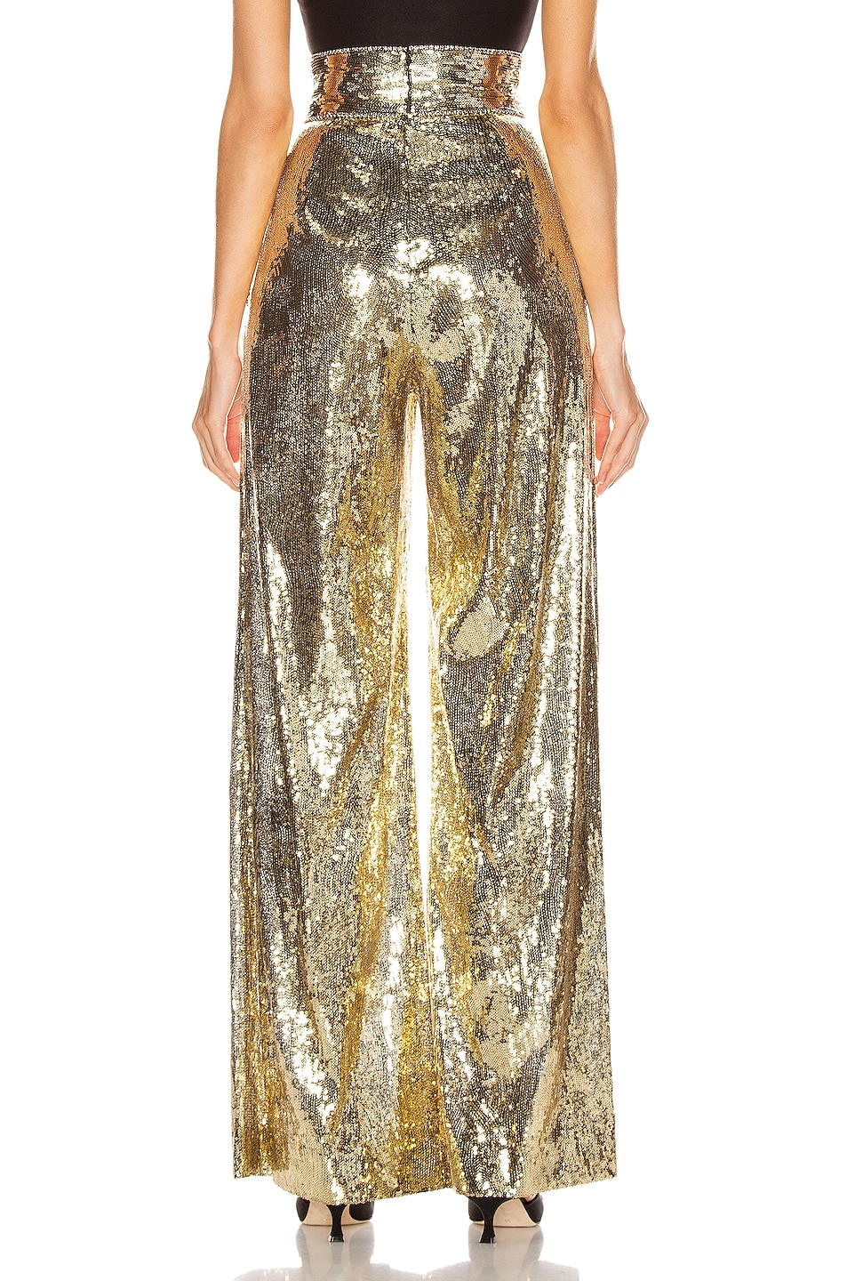 Image 3 of Dundas Sequin Wide Leg Pant in Gold