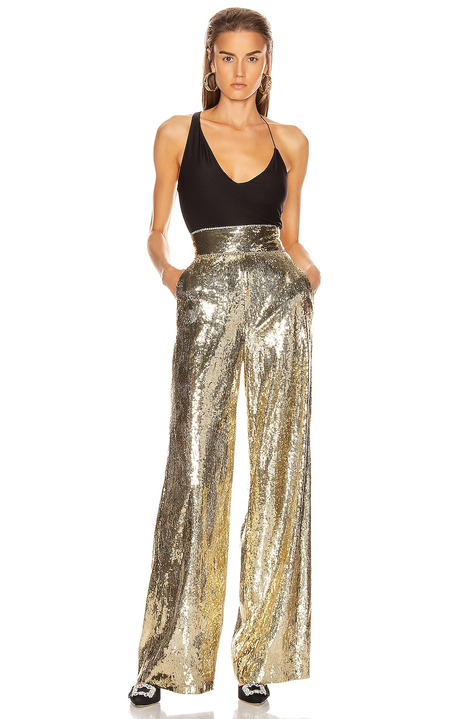 Image 4 of Dundas Sequin Wide Leg Pant in Gold