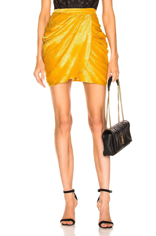 Image 1 of Dundas Drape Mini Skirt in Corn Yellow