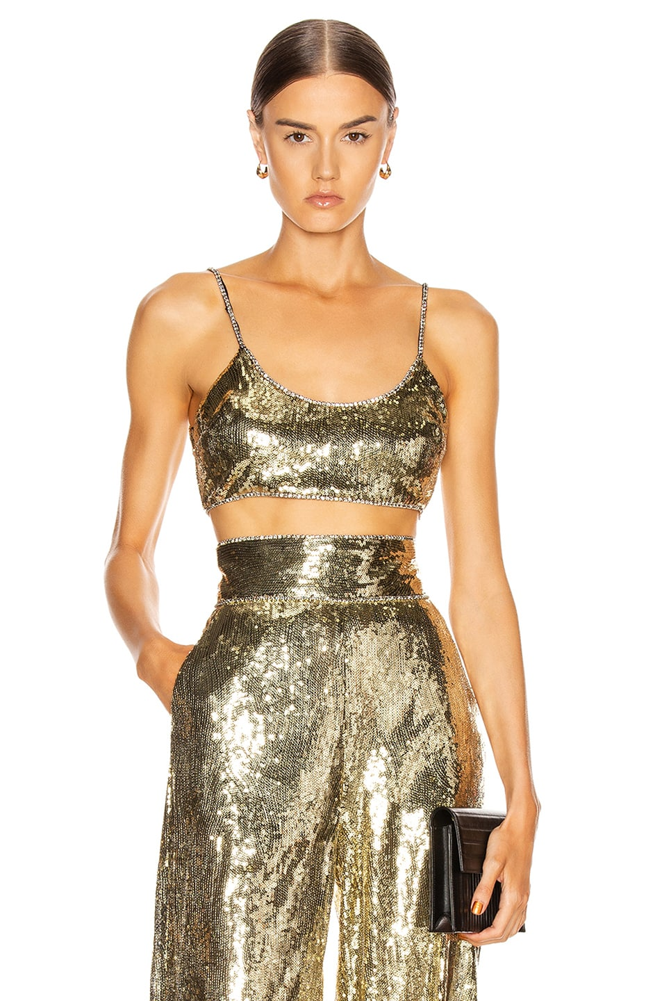 Image 1 of Dundas Sequin Crop Top in Gold