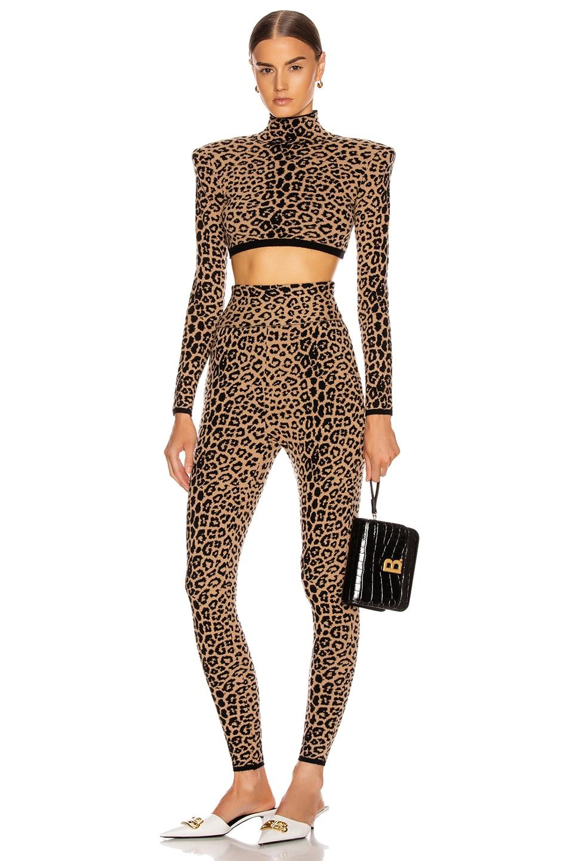 Image 4 of Dundas Long Sleeve Leopard Top in Black & Beige