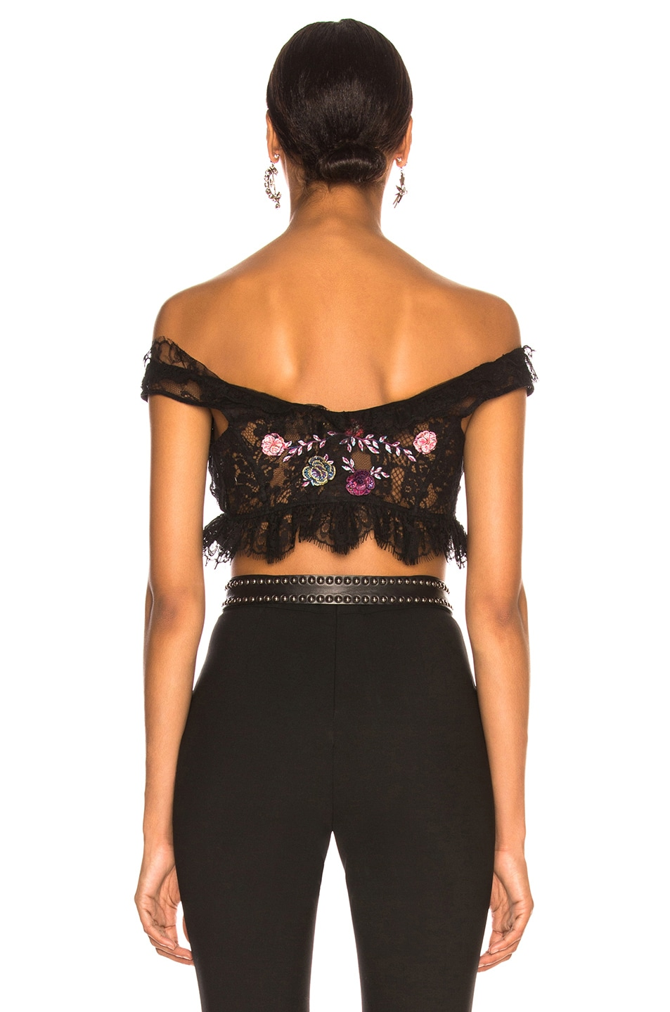 Image 3 of Dundas Lace Embroidered Crop Top in Black & Red