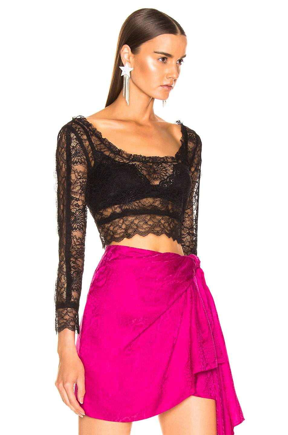 Image 2 of Dundas Crop Lace Top in Black
