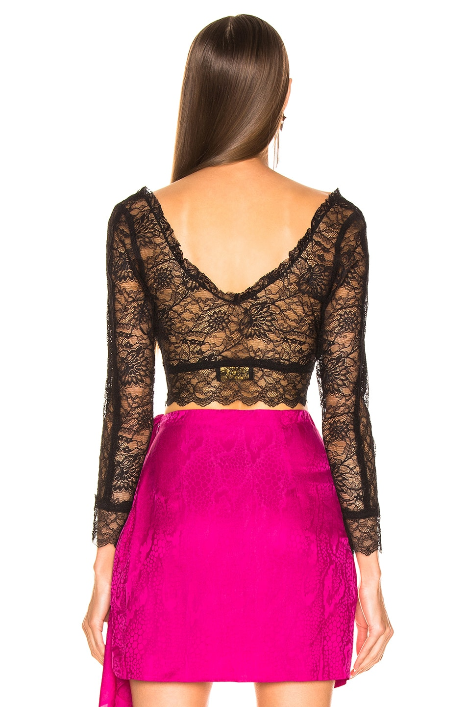 Image 3 of Dundas Crop Lace Top in Black
