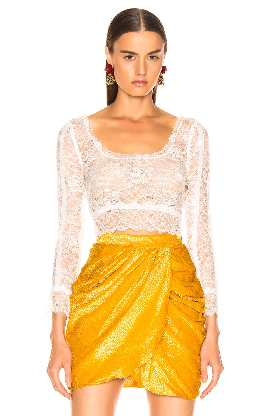 Image 1 of Dundas Crop Lace Top in White