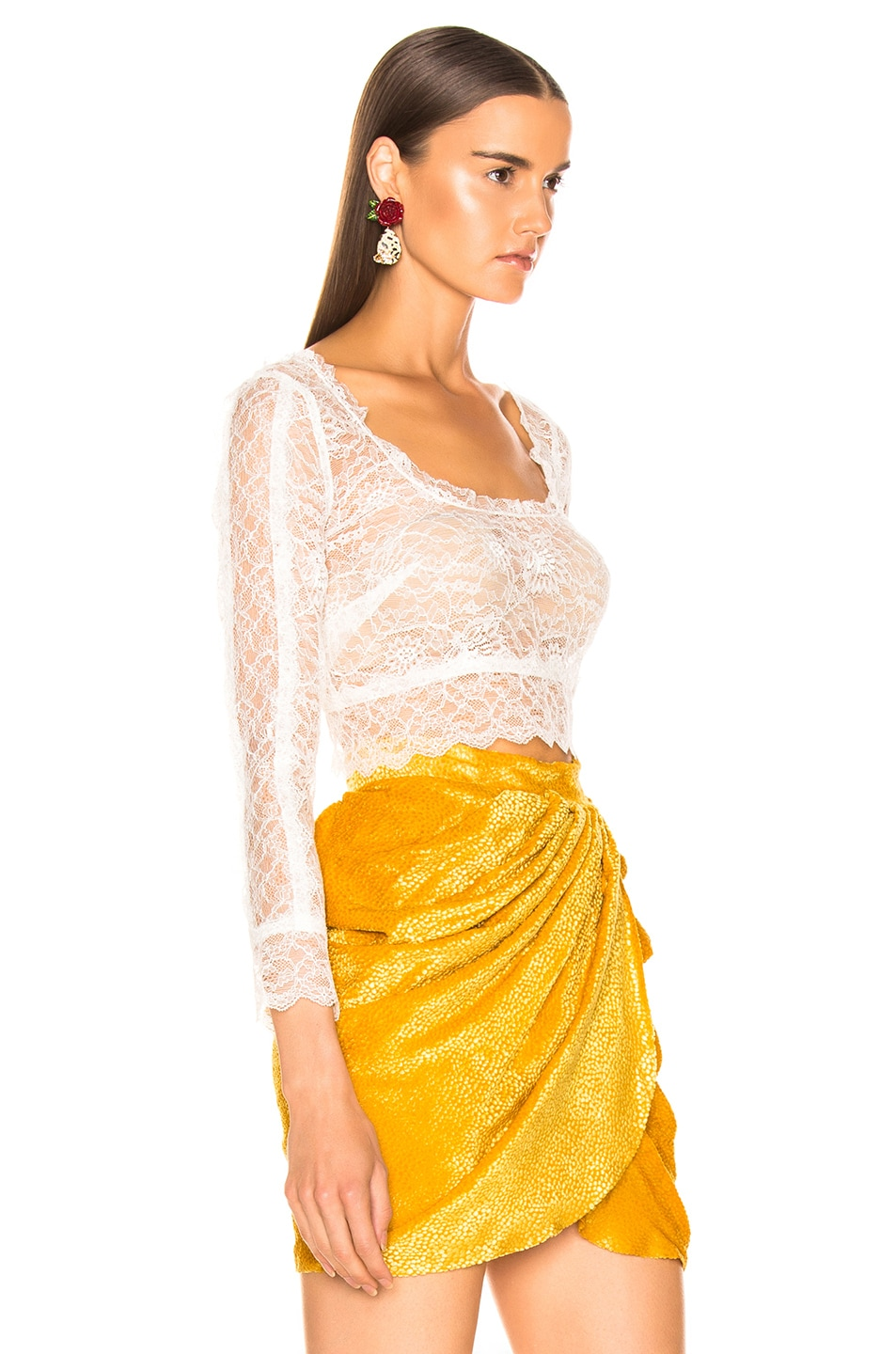 Image 2 of Dundas Crop Lace Top in White