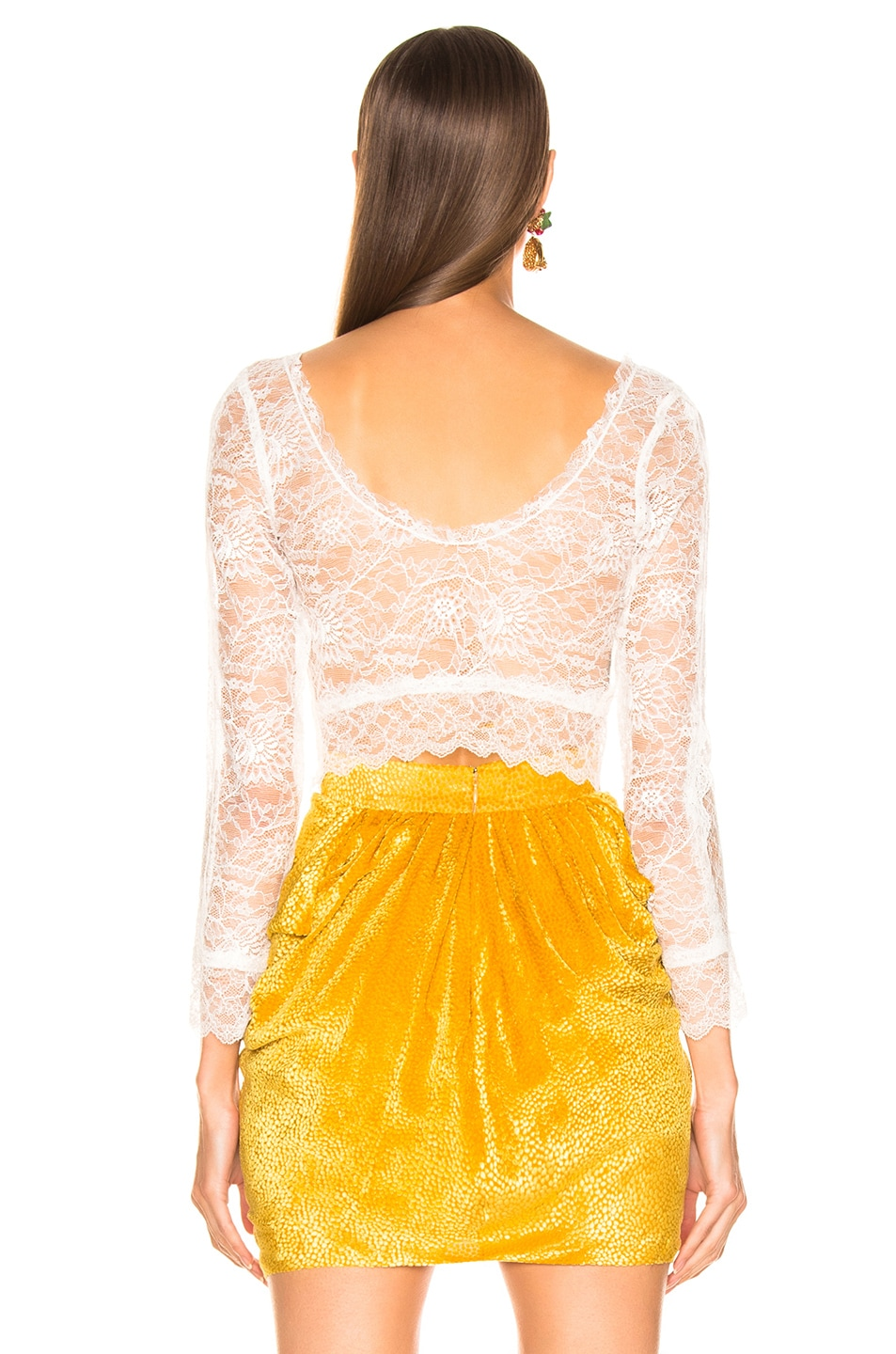 Image 3 of Dundas Crop Lace Top in White
