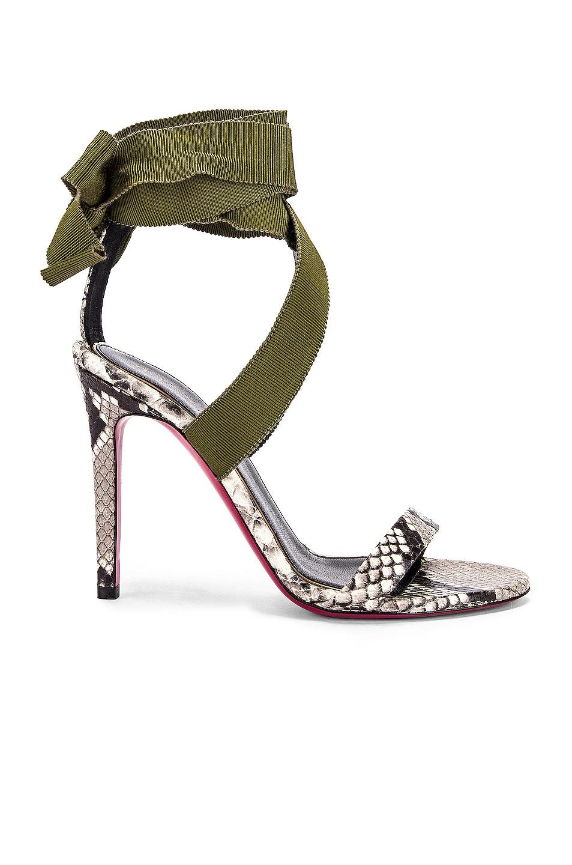 Image 1 of Dundas Printed Python Ribbon Heels in Khaki