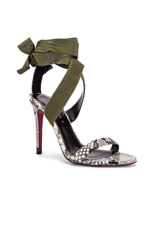 Image 2 of Dundas Printed Python Ribbon Heels in Khaki